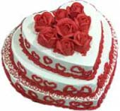 Three Step 3.5 Kg Heart Shape Cakee