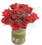 12 Red Roses in a Vasee